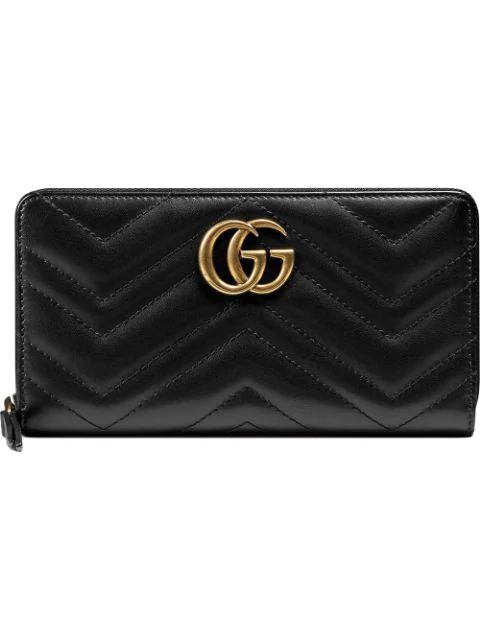 Gucci Marmont Quilted Leather Wallet In Black