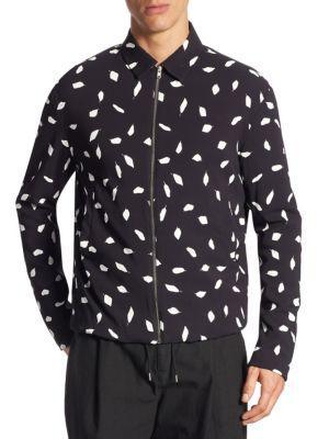 Mcq By Alexander Mcqueen 'aojama' Leaf Print Crepe Jacket In Black