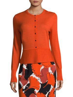 Hugo Boss Felija Wool Button Cardigan In Orange