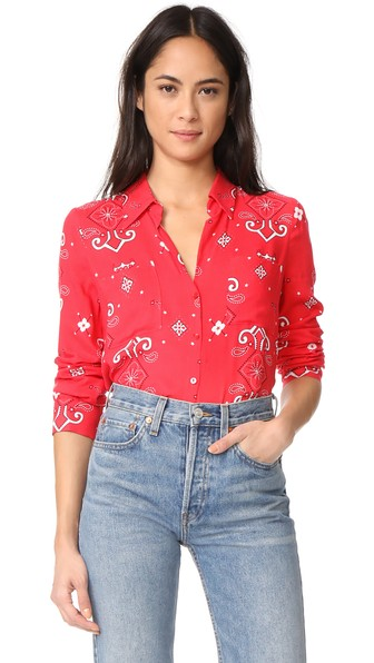 L Agence Jacqueline Two Pocket Blouse In Ruby Multi