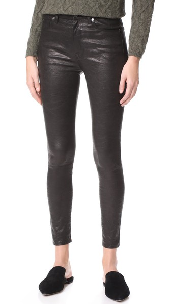 7 For All Mankind The Ankle Skinny Leather Pants In Black