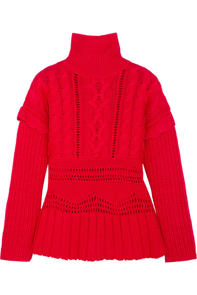 Altuzarra Prelude Cable-knit Wool Turtleneck Sweater In Red