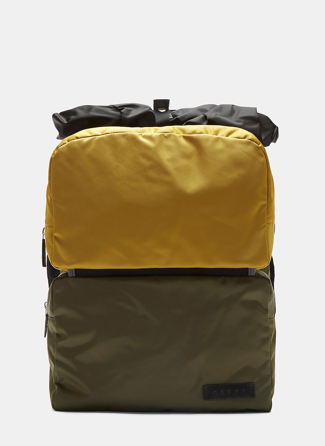 Marni Detachable Cargo Pocket Backpack In Khaki And Mustard