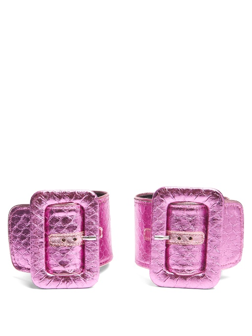 Attico Oversized-buckle Watersnake Ankle Straps In Hot-pink