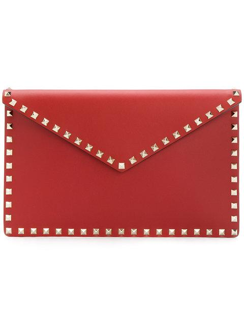 Valentino Large Garavani Rockstud Clutch In Red
