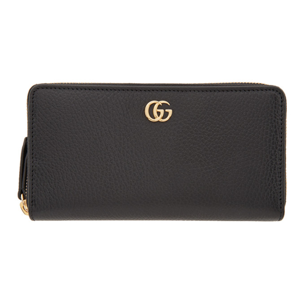 Gucci Black Small Gg Marmont Zip-around Wallet In 1000 Nero