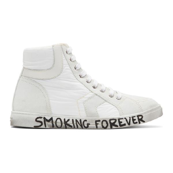 Saint Laurent Smoking Forever Joe Mid Top Sneaker In White