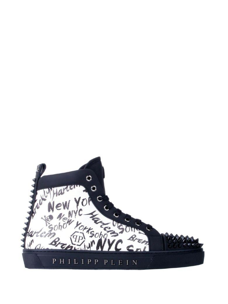 Philipp Plein Black And White Leather High-top Wood Sneakers In Black-nickel