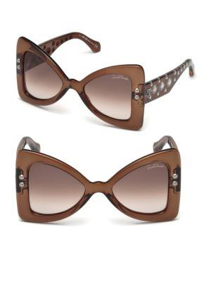Roberto Cavalli 50mm Oversized Butterfly Sunglasses In Dark Brown