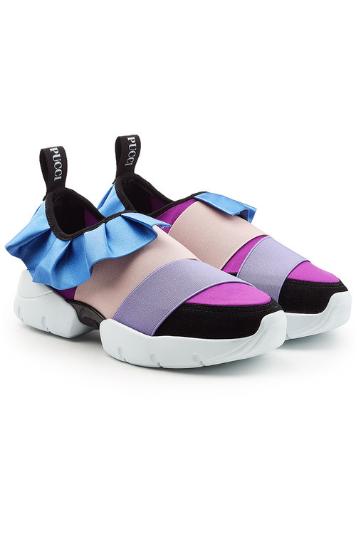 Emilio Pucci Fabric & Leather Slip-on Sneakers In Multicolored