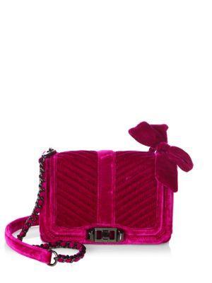 Rebecca Minkoff Love Small Chevron Quilted Velvet Crossbody Bag In Fuchsia
