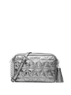b7f9e5ad241a Michael Michael Kors Ginny Quilted Medium Leather Camera Bag In Pewter