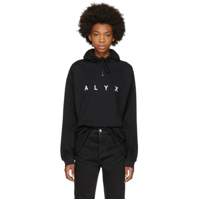 Alyx 1017  9sm Ssense Exclusive Black Logo Hoodie In Black/white