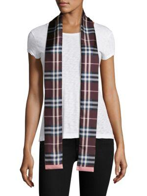 Burberry Castleford Check Silk Skinny Scarf In Deep Claret