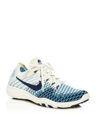 Nike Women's Free Tr Fk2 Knit Lace Up Sneakers In Sail/college Navy/cerulean