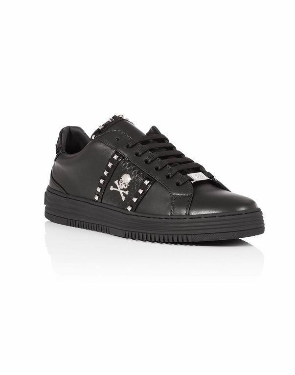 Philipp Plein Get On Low-top Leather Sneakers In Black