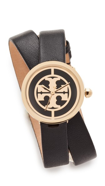 Tory Burch The Reva Leather Wrap Watch In Gold/black
