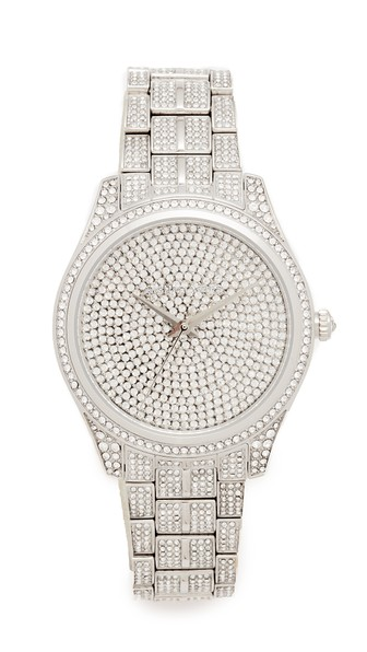 Michael Kors Lauryn Watch In Pave/silver