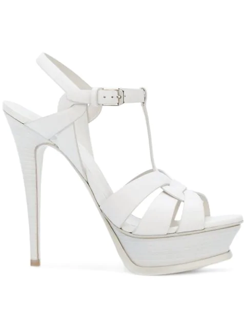 Saint Laurent Tribute Patent Leather Sandals In White
