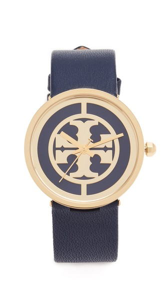 Tory Burch The Reva Leather Watch In Gold/navy