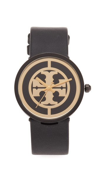 Tory Burch The Reva Leather Watch In Black/gold
