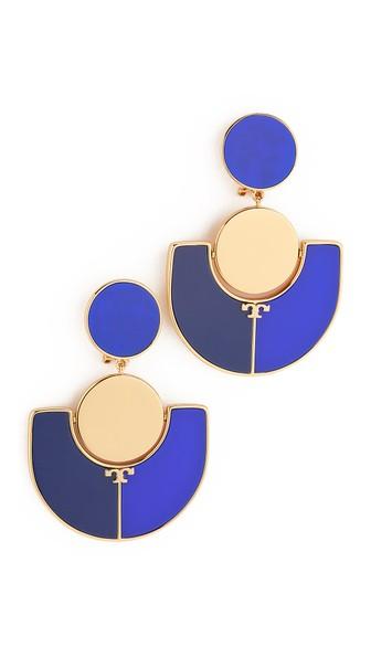 Tory Burch Art Deco Statement Earrings In Pottery Blue/falleria Blue