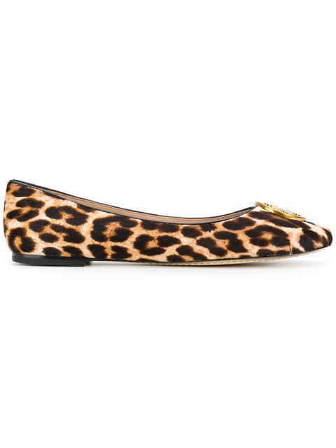 Tory Burch Chelsea Leopard Print Ballerinas In Brown
