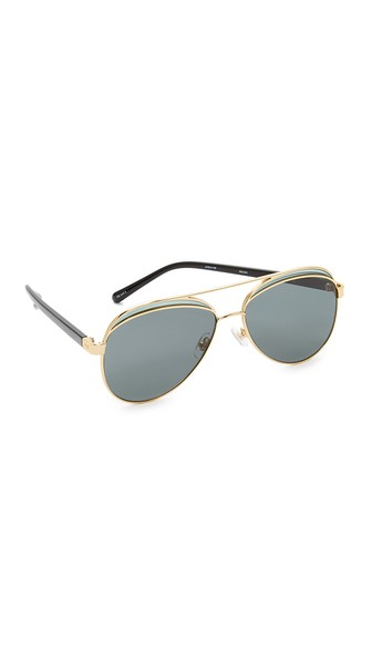 N°21 Colourblock Metal Aviator Mirror Sunglasses In Gold/grey