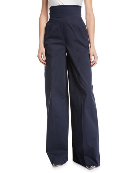 Oscar De La Renta High-Waist Wide-Leg Cotton Pants W/ Lace-Up Detail In Navy