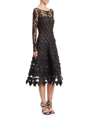 Oscar De La Renta Long-sleeve Floral-lace Geometric-cutouts Illusion Cocktail Dress In Black