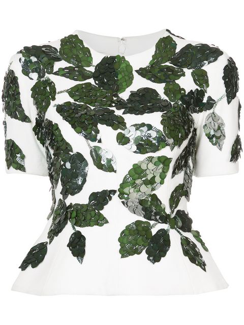 Oscar De La Renta Short-sleeve Crewneck Peplum Top W/ Leaf Paillettes In Ivory-fern