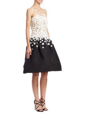 Oscar De La Renta Sleeveless Illusion Jewel Neck Embellished Dress In Black/white