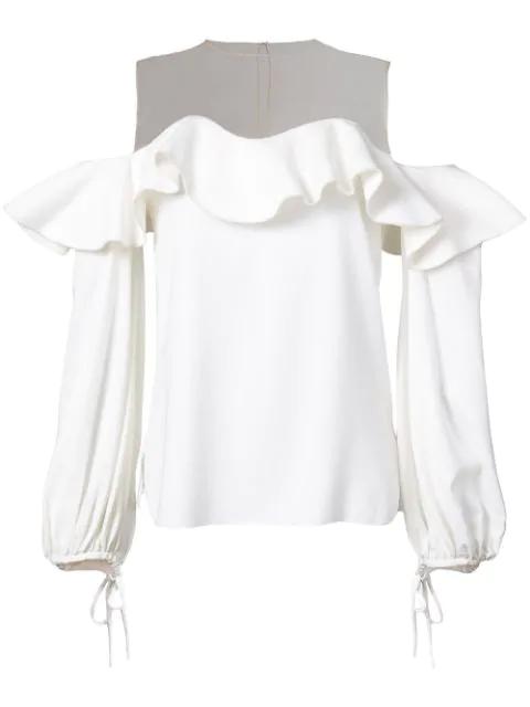 Oscar De La Renta Mesh-yoke Cut-out Shoulder Silk-blend Top In Ivory
