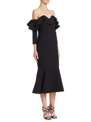 Oscar De La Renta Flounced Off-shoulder Illusion Midi Dress In Black