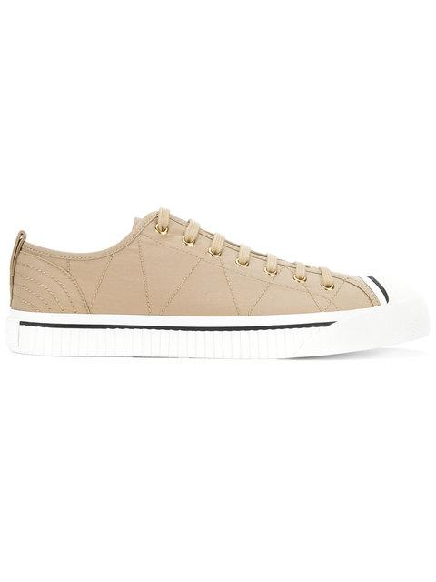 Burberry Topstitched Gabardine Sneakers