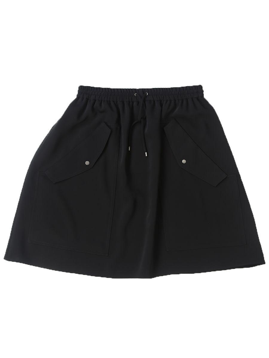 Kenzo Crà Pe Drawstring Skater Skirt In Black