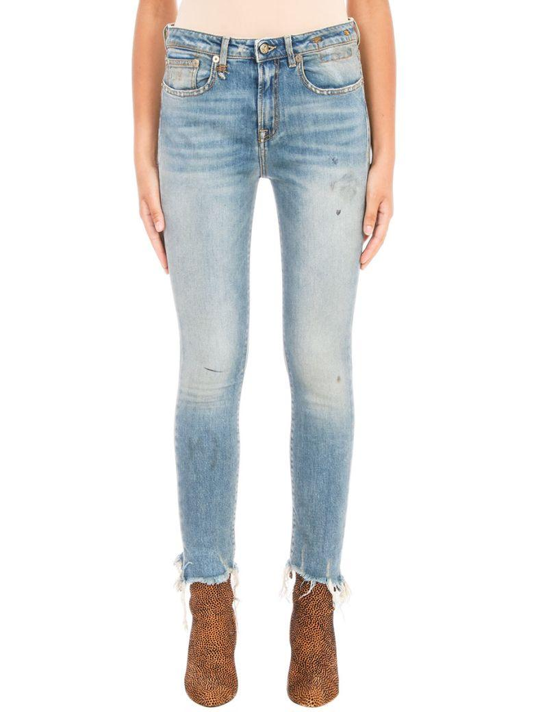 R13 Jenny Frayed-hem Skinny Jeans In Cyan