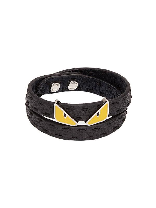 469f8852a95 Fendi Black Bag Bugs Double Wrap Bracelet