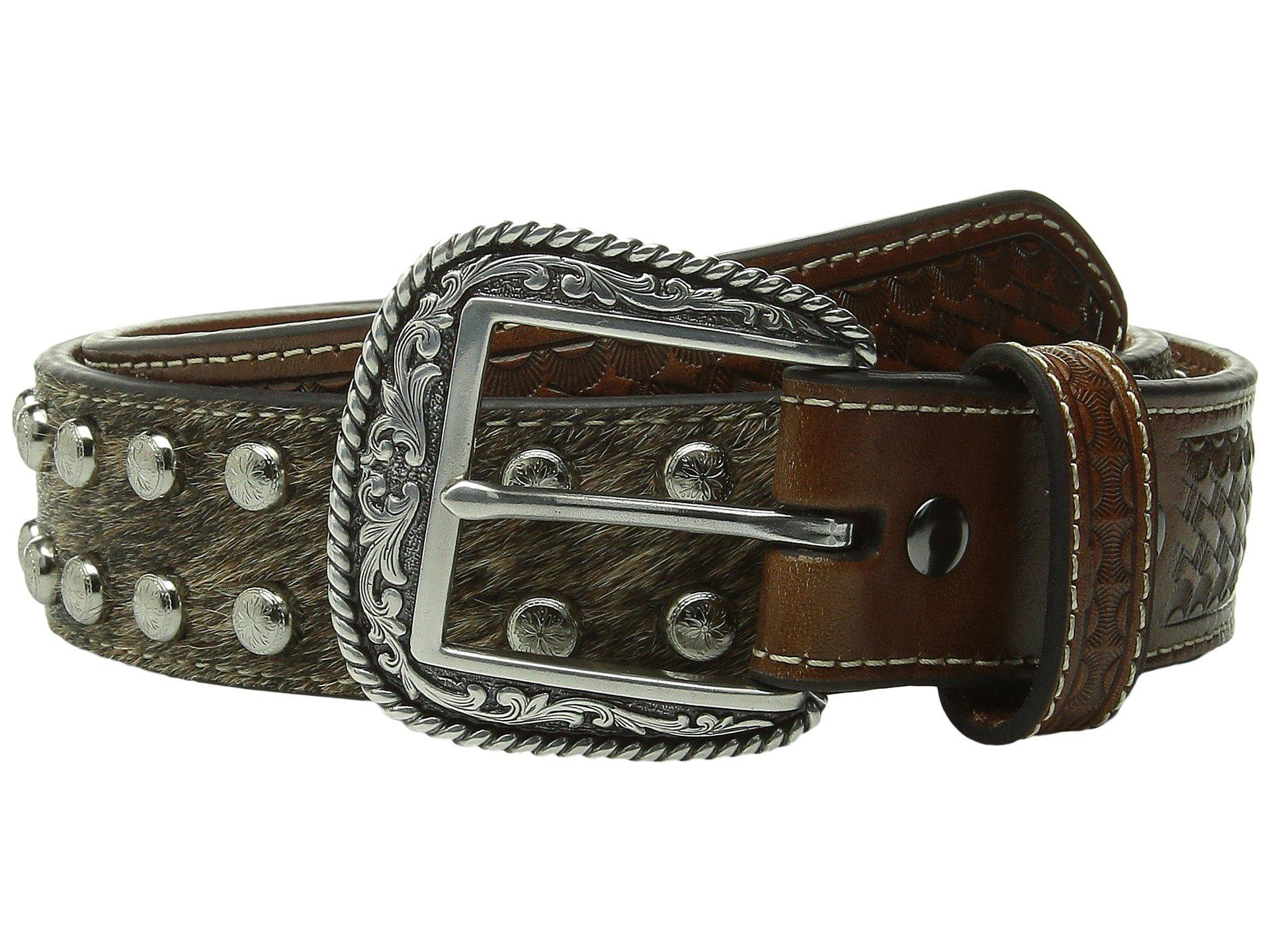 Ariat Studded Concho Hair Calf Belt In Brown