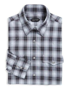 Tom Ford Regular Fit Plaid Cotton Dress Shirt In Grey