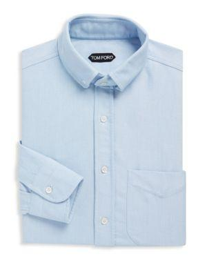 Tom Ford Regular Fit Textured Cotton Dress Shirt In Blue