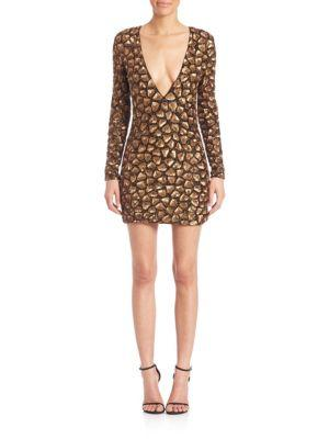 Alice And Olivia Nora Sequined Dress In Bronze