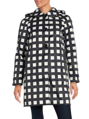 Kate Spade Checked Hooded Rain Coat In Black