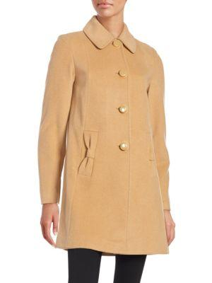 Kate Spade Button Front Coat In Camel