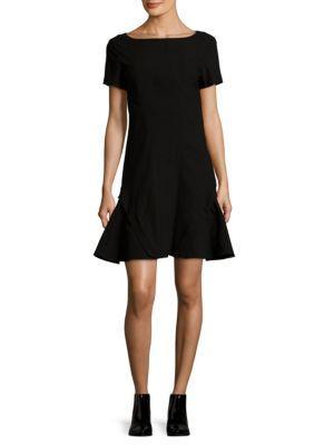 Zac Posen Bateau Neckline Woven Shift Dress In Black