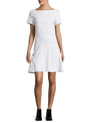 Zac Posen Bateau Neckline Woven Shift Dress In White
