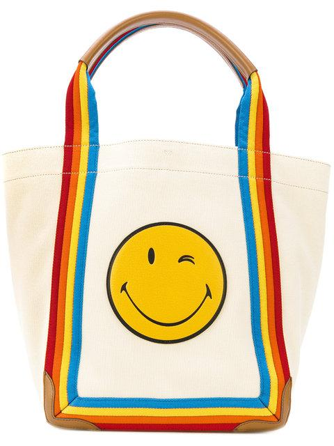 Anya Hindmarch Smiley Rainbow Tote In Neutrals