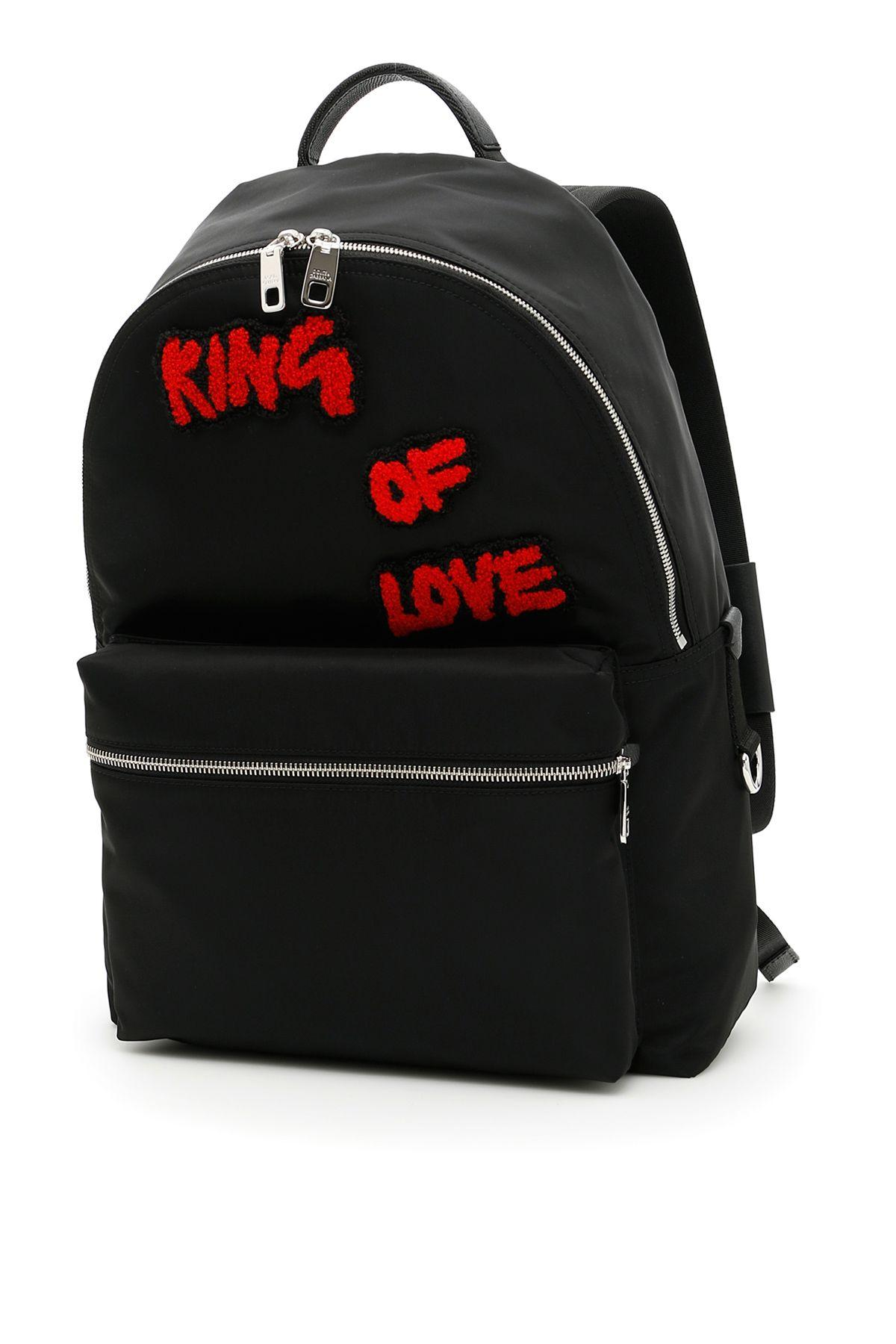 Dolce & Gabbana Nylon Vulcano Backpack With Patches In Black