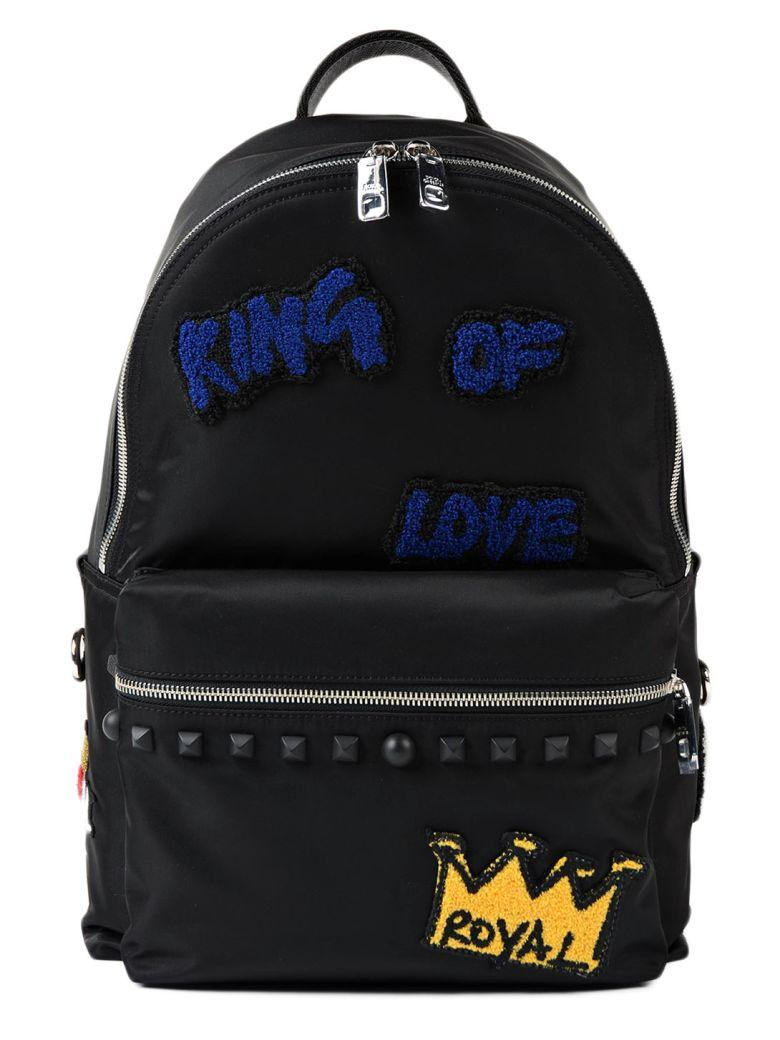 Dolce & Gabbana Royal Patch Backpack In Black