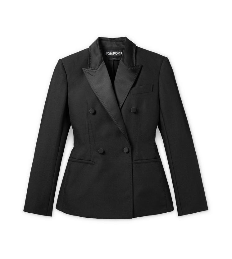 Tom Ford Fitted Double Breasted Grain De Poudre Tuxedo Jacket In Black